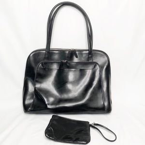 Franklin Covey Black Leather Organizer Briefcase